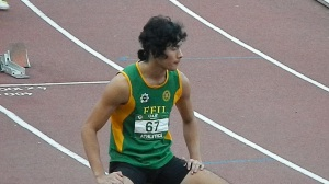 Jesson Ramil Cid of FEU swept the UAAP  75 men's sprint events as he won the 100m, 200m and 400m