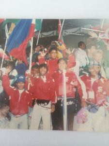 Closing ceremonies of the 1988 Seoul Olympics:  Eric Buhain on my top, and wrestler Benjamin McMorie on my left