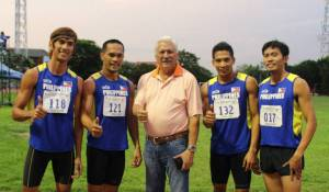 The quartet of Bagsit, Nierras, Alejan and Junrey Bano clocked 3:11.16 at the 2011 SEA games where they place 2nd.  With them is PSC Chairman Richie Garcia (Photocredit:pinoyathletics)