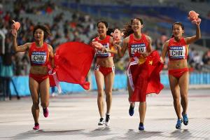 China's womens 4x100m team reclaimed the title they lost in 2010 in a Games record 42.83s.  This is their 7th Asian Games title in the last 8 Asiad. Photocredits: Getty Images)