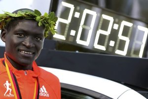 Dennis Kimetto of Kenya became the first man to run under 2:03 in a full marathon by running 2:02.57 in the 2014 Berlin Marathon