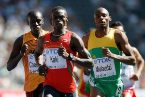 Abubaker Kaki of Sudan and Mbulaeni Mulaudzi of South Africa compete in the men's 800m at the 2009 World Championships at Berlin.