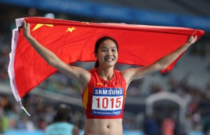 Wei Yongli is Asia's fastest woman after winning the 2014 Asian Games 100m titile.  She also achored the Chinese team in their 4x100m gold in a Games record (Photocredits: Chung Sung Jun/Getty Images)
