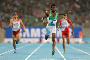 Yousef Masrahi of Saudi Arabia set a new Games record over att he 400m dash with a 44.66 mark